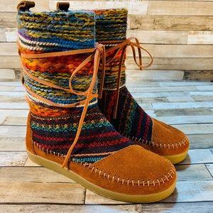 TOMS || NWT • Nepal Boots Cognac Suede Textile Mix